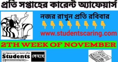 Current Affairs 2nd week of November
