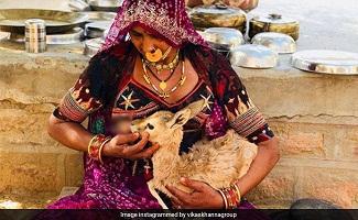 বিশনয় সম্প্রদায় এর এক মহিলা হরিণ কে নিজের স্তন পান করাচ্ছেন