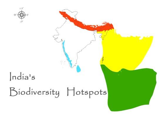ভারতের জীববৈচিত্র্য হট স্পট মানচিত্র