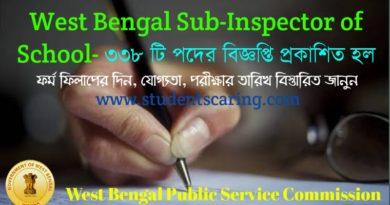 West Bengal Sub-Inspector of School 2018- নিয়োগের বিজ্ঞপ্তি প্রকাশ হল