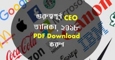 গুরুত্বপূর্ণ CEO তালিকা ২০১৮ PDF