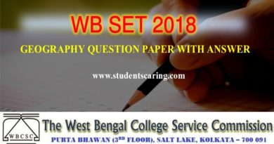 WB SET 2018 Geography Question Paper with Answer