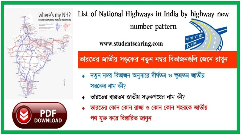 National Highways in India by new highway number system
