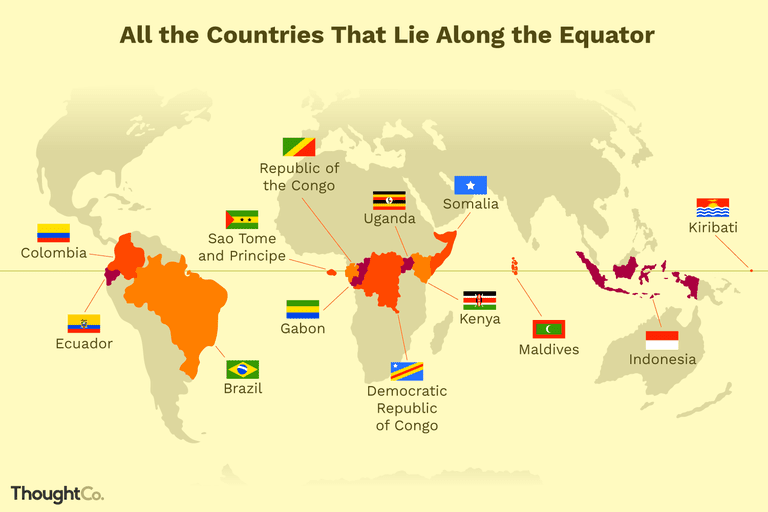 How many countries does the equator pass through?