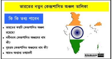 ভারতের কেন্দ্রশাসিত অঞ্চল তালিকা